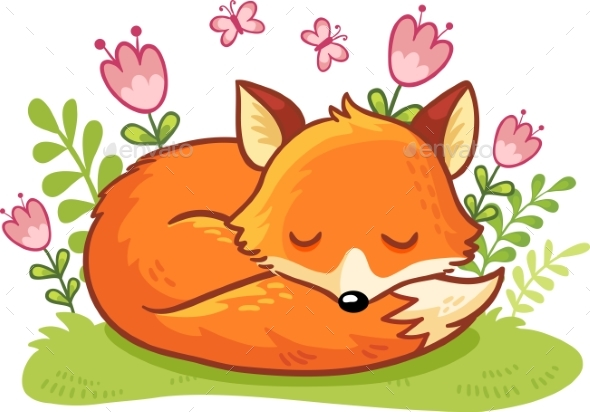 Fox Asleep on a Flower Clearing. - Animals Characters
