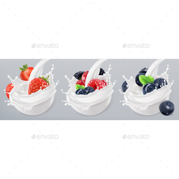 Mixed Berry and Milk Splashes - Food Objects