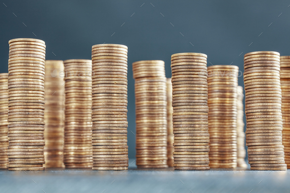 Stacks of golden coins, selective focus - Stock Photo - Images