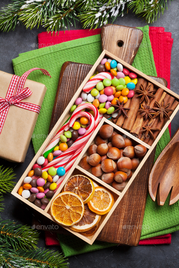 Christmas food decor and cooking utensils - Stock Photo - Images