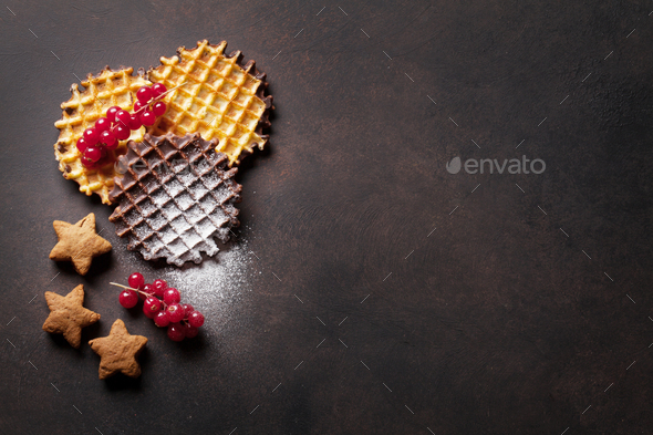 Waffles and berries - Stock Photo - Images