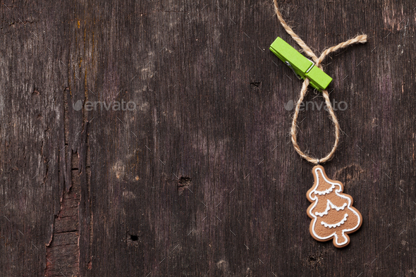 Christmas background with gingerbread cookie - Stock Photo - Images