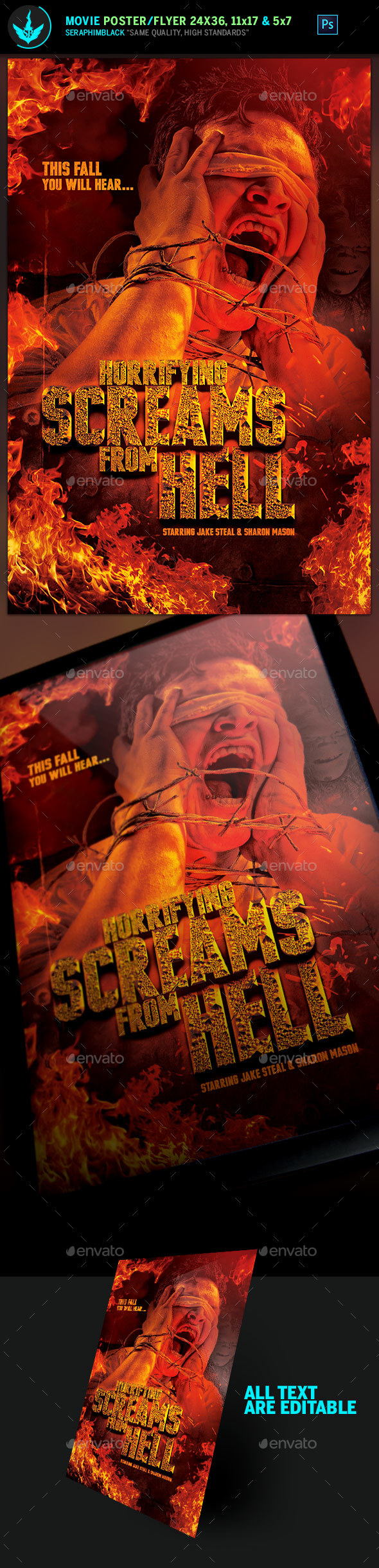 GraphicRiver Screams from Hell Movie Poster plus Flyer Template 20906186