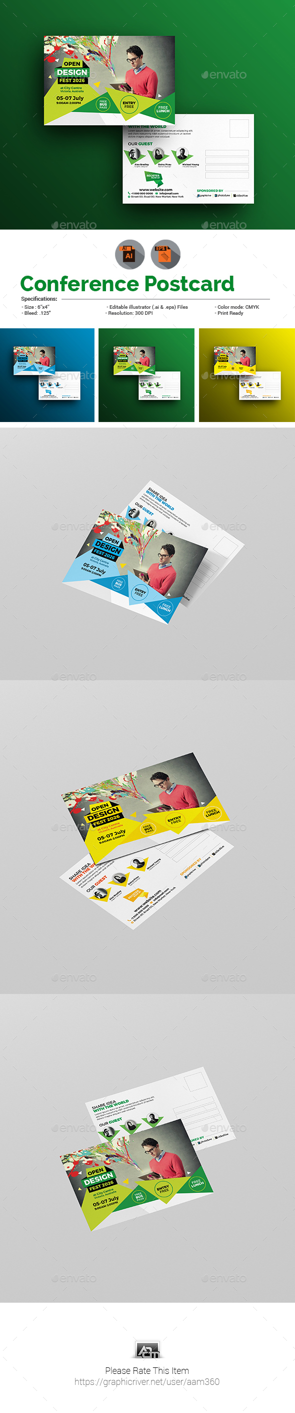 Conference/Event Postcard Template - Cards & Invites Print Templates