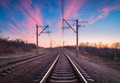 Train platform at sunset. Railroad. Railway station - PhotoDune Item for Sale