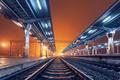 Railway station at night. Train platform in fog. Railroad - PhotoDune Item for Sale