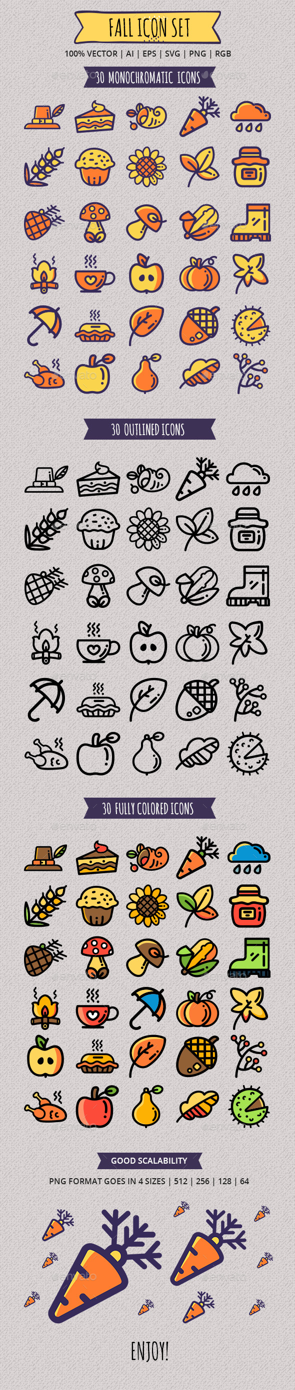 GraphicRiver Seasonal Fall Icon Set 20906648