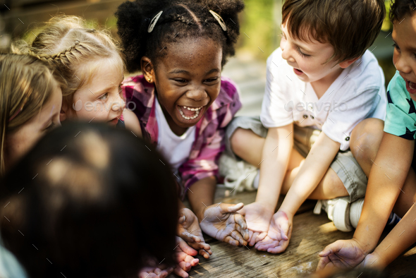 Kids having a fun time together - Stock Photo - Images