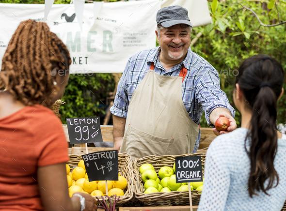 Man owner fresh gracery organic shop - Stock Photo - Images