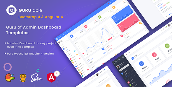 guru able bootstrap 4 admin dashboard template angular 4 starter kit by codedthemes. Black Bedroom Furniture Sets. Home Design Ideas