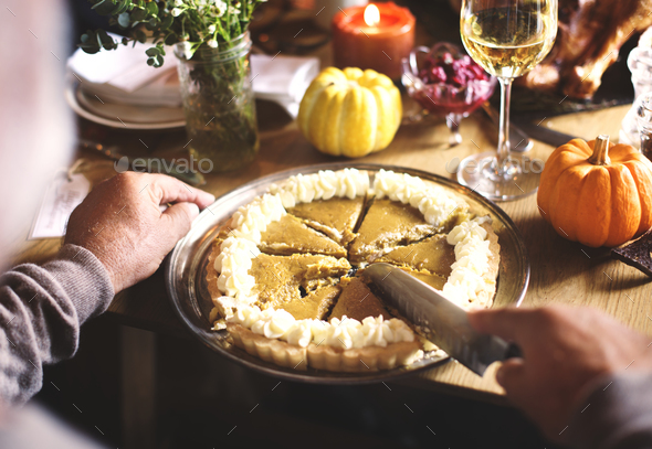 People are celebrating Thanksgiving day - Stock Photo - Images