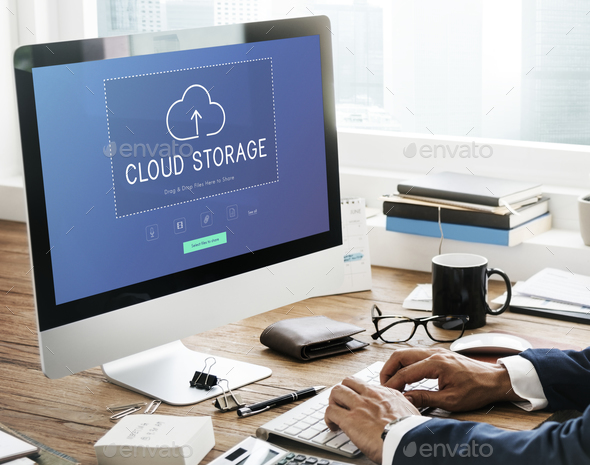 Cloud storage upload and download data management technology - Stock Photo - Images