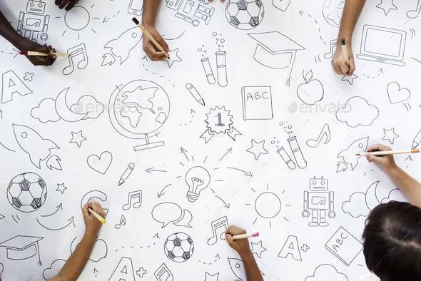 Kids drawing education symbols - Stock Photo - Images