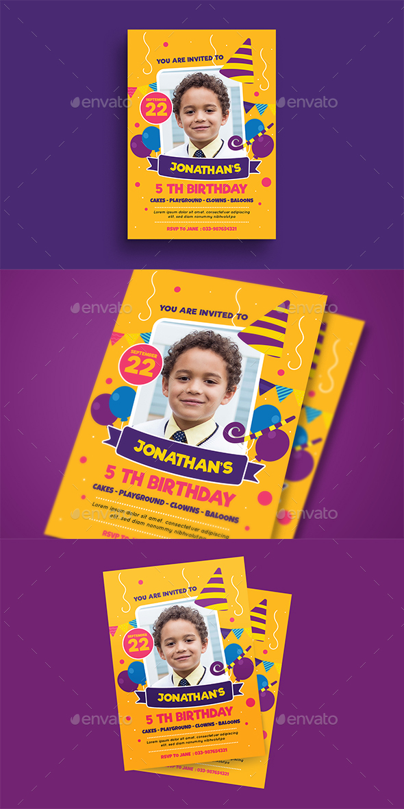 Kids Birthday Party - Birthday Greeting Cards