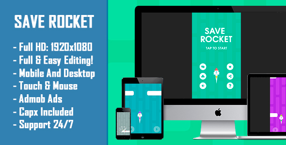 CodeCanyon Save Rocket HTML5 Game & Mobile Version Construct-2 CAPX 20907420