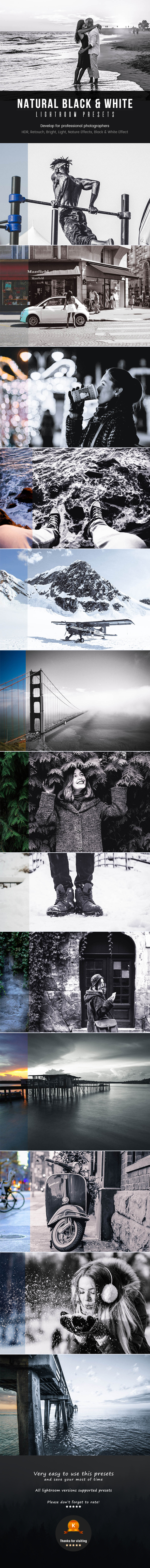 GraphicRiver Natural Black & White Lightroom Presets 20907682