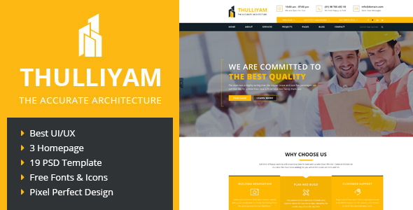Thulliyam Architecture Construction PSD Template
