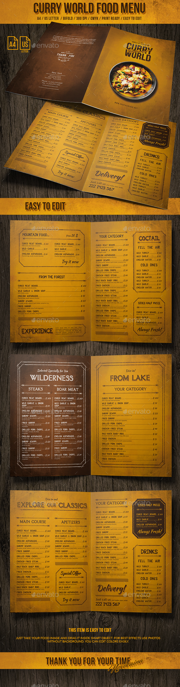 Curry World Retro Bifold Menu A4 and US Letter - Food Menus Print Templates