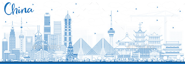 Outline China City Skyline - Buildings Objects