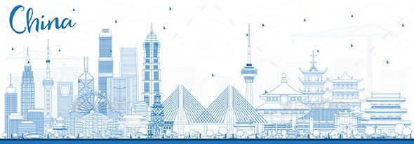 GraphicRiver Outline China City Skyline 20907687