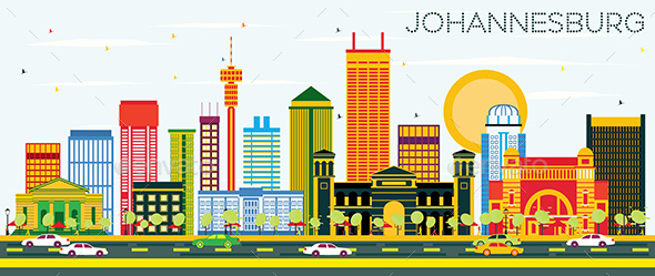 GraphicRiver Johannesburg Skyline with Color Buildings and Blue Sky 20907693