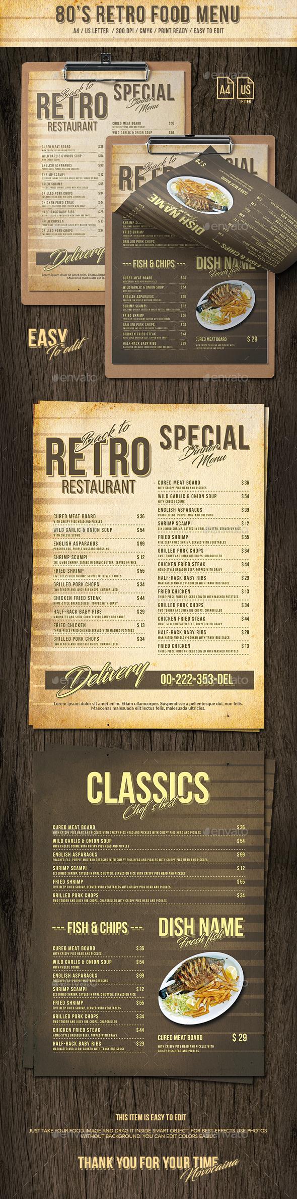 GraphicRiver 80s Retro Single Page Menu A4 and US Letter 20907694