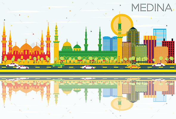 Medina Skyline with Color Buildings, Blue Sky and Reflections. - Buildings Objects