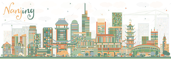 GraphicRiver Nanjing China Skyline with Color Buildings 20907700