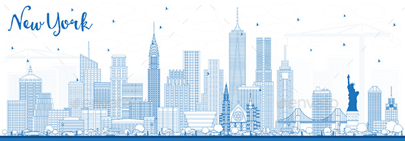 GraphicRiver Outline New York USA Skyline with Blue Buildings 20907703