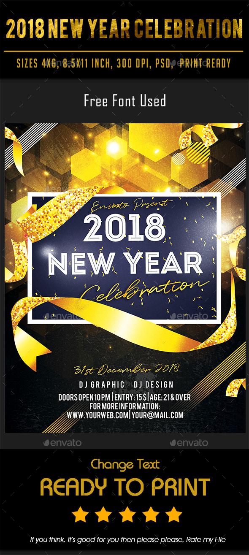 2018 New Year Celebration - Flyers Print Templates