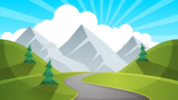 Travel Day Cartoon Landscapen. Mountain, Fir, Road - Landscapes Nature