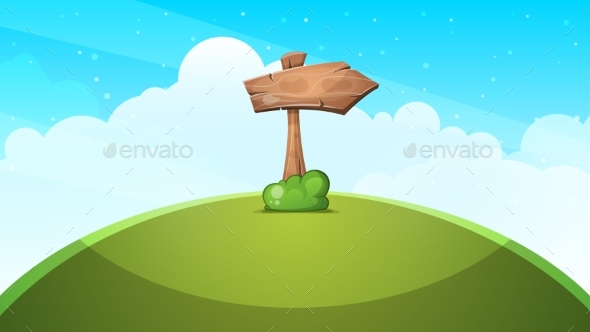 Wood Arrows Cartoon Landscape. - Landscapes Nature