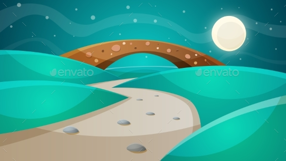 Night Bridge - Cartoon Illustration. - Landscapes Nature