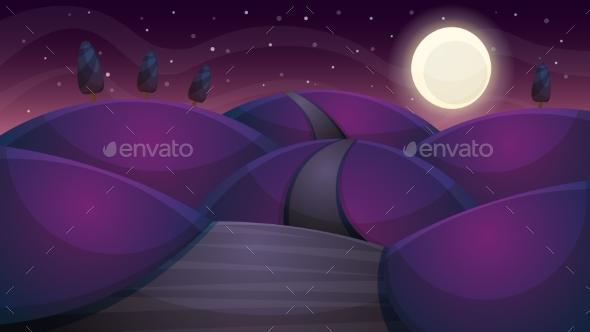Travel Night Cartoon Landscape. Fir, Comet, Star - Landscapes Nature