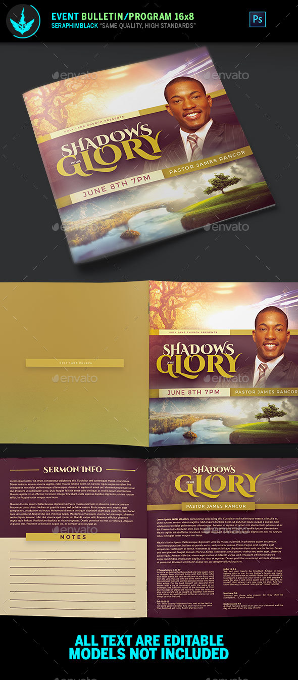 GraphicRiver Shadows of His Glory Church Bulletin Template 20907922