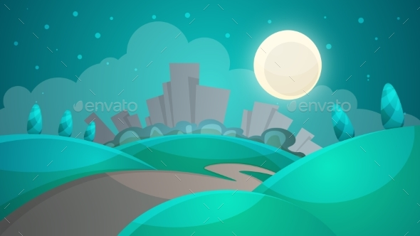 Cartoon Night Landscape. City, Moon, Tree, Road - Landscapes Nature