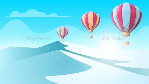 GraphicRiver Cartoon Ice Landscape Air Balloon Illustration 20907924
