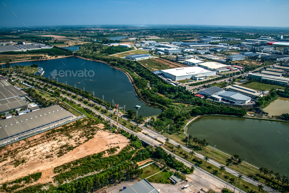 Water reservoir in Industrial estate  - Stock Photo - Images