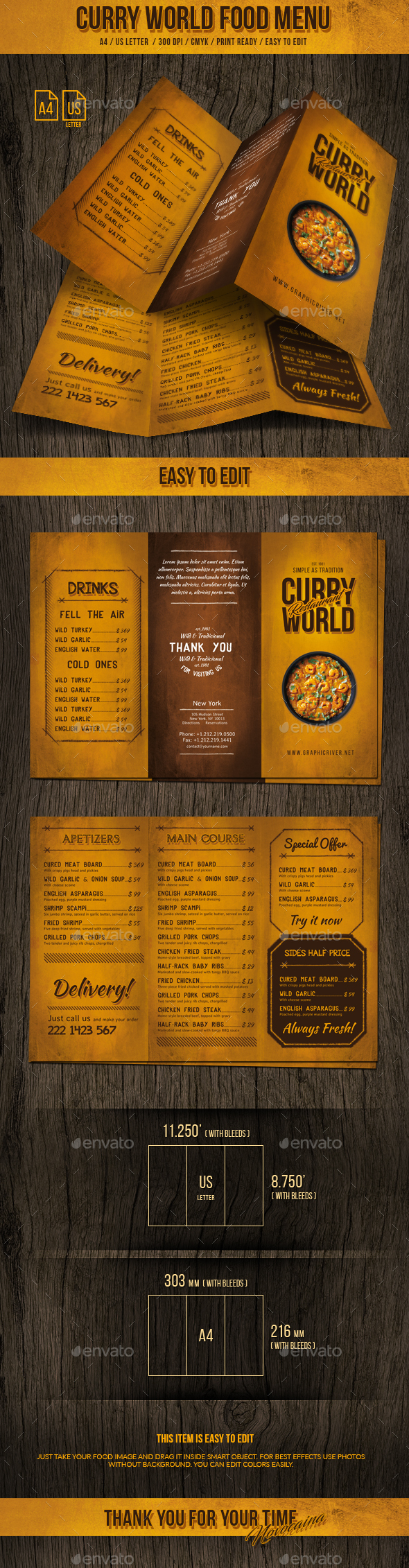 Curry World Retro Trifold Menu A4 and US Letter - Food Menus Print Templates
