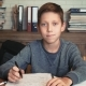Portrait of a Schoolboy at His Desk - VideoHive Item for Sale