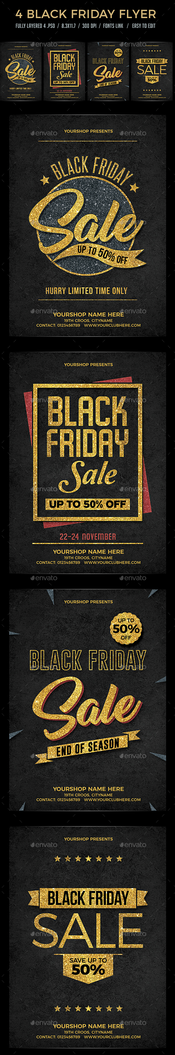 GraphicRiver 4 Black Friday Sale Flyer Set 20908208