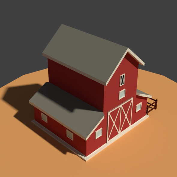 3DOcean Low Poly Cartoony Granary 20908301