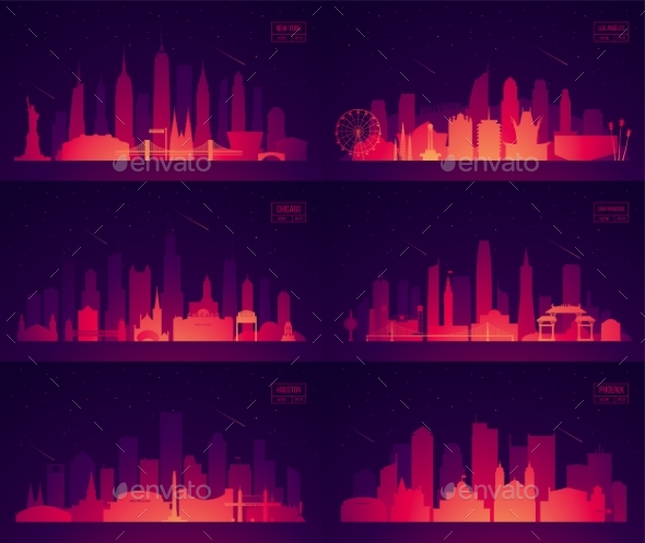 Set North American Citie New York Chicago Phoenix - Buildings Objects
