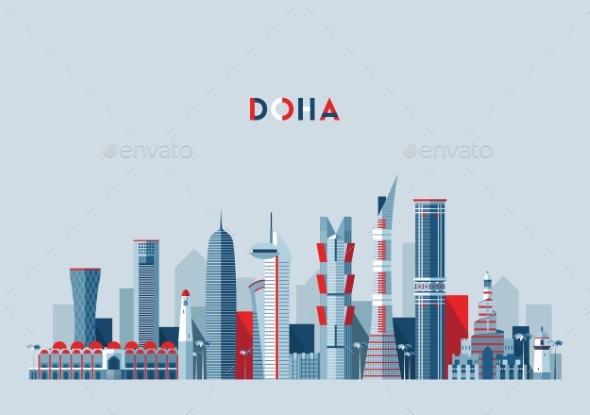 Doha Skyline Qatar Vector Illustration Flat Design - Buildings Objects