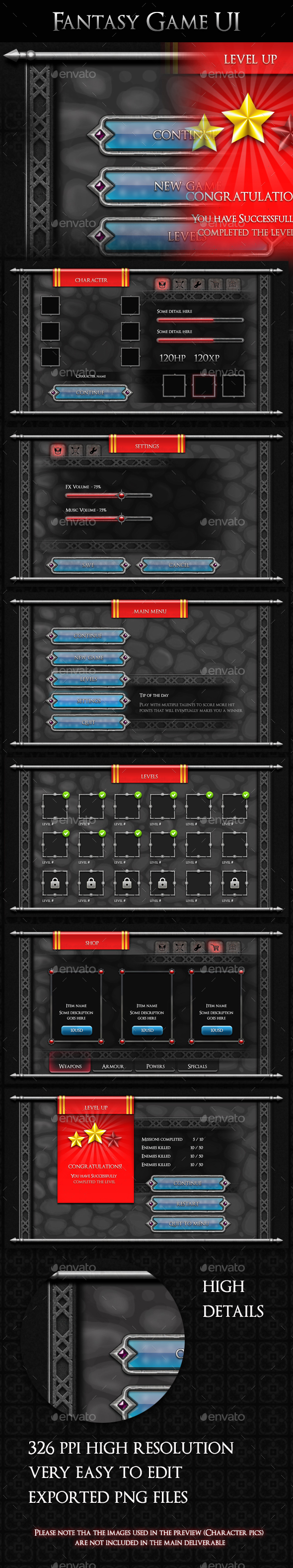GraphicRiver Fantasy Game UI V2 20908487