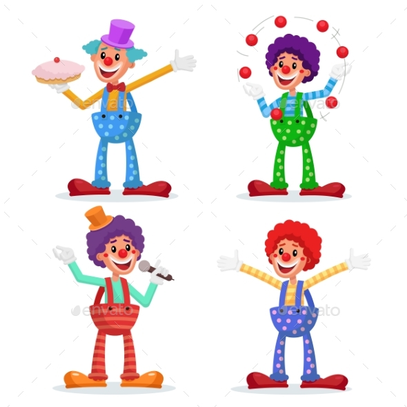 Circus Clowns Set Vector. - People Characters
