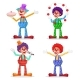 Circus Clowns Set Vector.