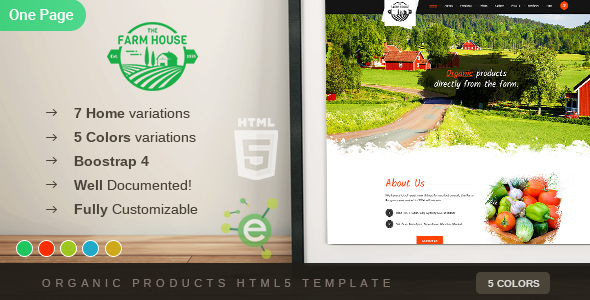 The Farm House - One Page Organic Food, Fruit and Vegetables Products HTML5 Template - Food Retail