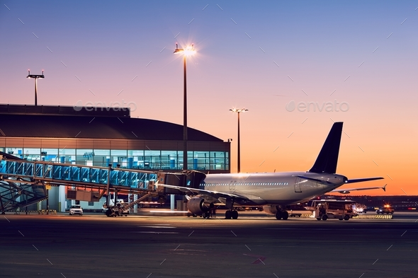 Airport at the colorful sunset - Stock Photo - Images