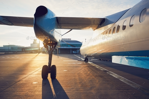 Propeller airplane before take off - Stock Photo - Images